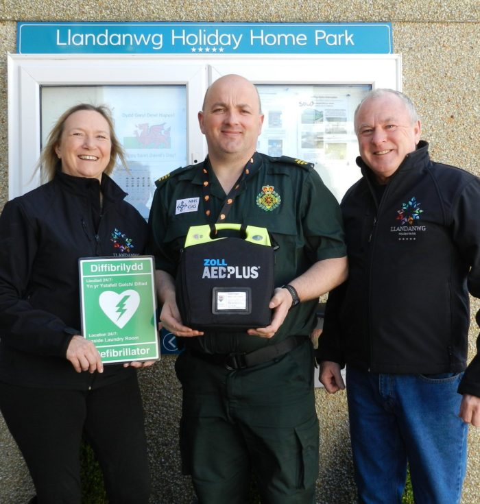 Defibrillator installed at Llandanwg Holiday Park